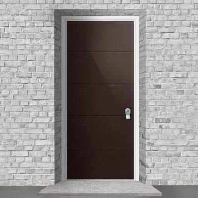 4 Horizontal Lines Chocolate Brown Ral 8017 By Fort Security Doors Uk