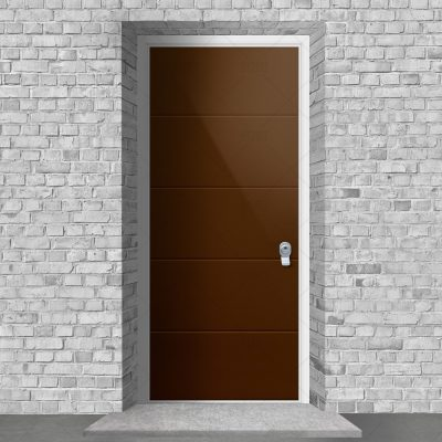 4 Horizontal Lines Clay Brown Ral 8003 By Fort Security Doors Uk