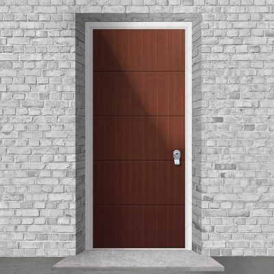 4 Horizontal Lines Mahogany By Fort Security Doors Uk