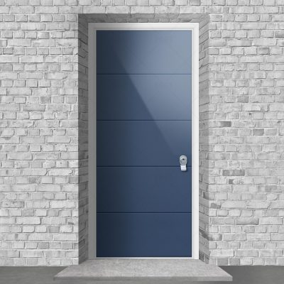 4 Horizontal Lines Pigeon Blue Ral 5014 By Fort Security Doors Uk