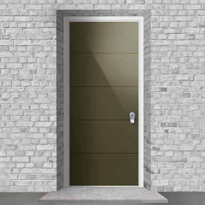 4 Horizontal Lines Reed Green Ral 6013 By Fort Security Doors Uk