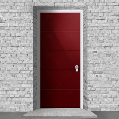 4 Horizontal Lines Ruby Red Ral 3003 By Fort Security Doors Uk