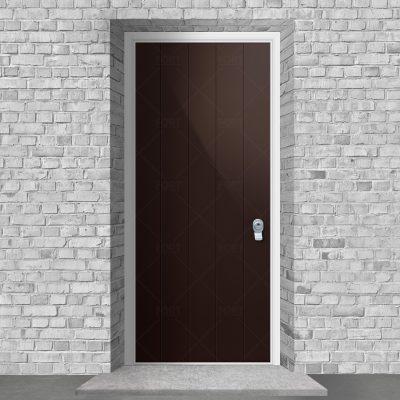 4 Vertical Lines Chocolate Brown Ral 8017 By Fort Security Doors Uk