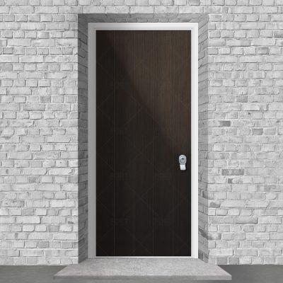 4 Vertical Lines Dark Oak By Fort Security Doors Uk
