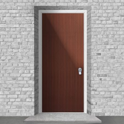 4 Vertical Lines Mahogany By Fort Security Doors Uk