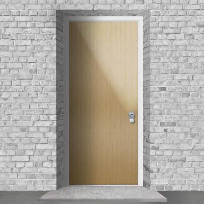 4 Vertical Lines Oak By Fort Security Doors Uk
