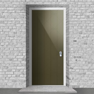 4 Vertical Lines Reed Green Ral 6013 By Fort Security Doors Uk
