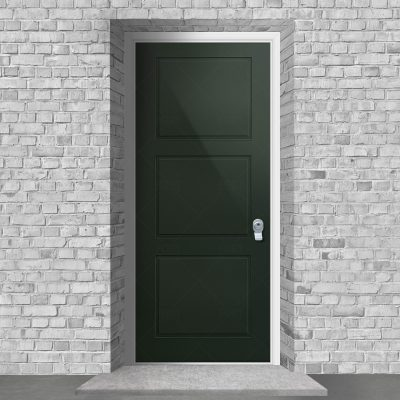 Edwardian 3 Equal Panel Fir Green Ral 6009 By Fort Security Doors Uk