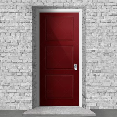 Edwardian 3 Equal Panel Ruby Red Ral 3003 By Fort Security Doors Uk