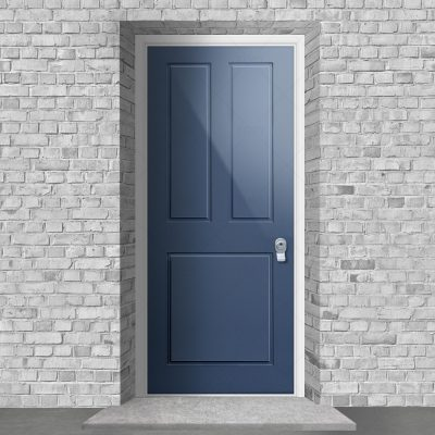 Edwardian 3 Panel Pigeon Blue Ral 5014 By Fort Security Doors Uk