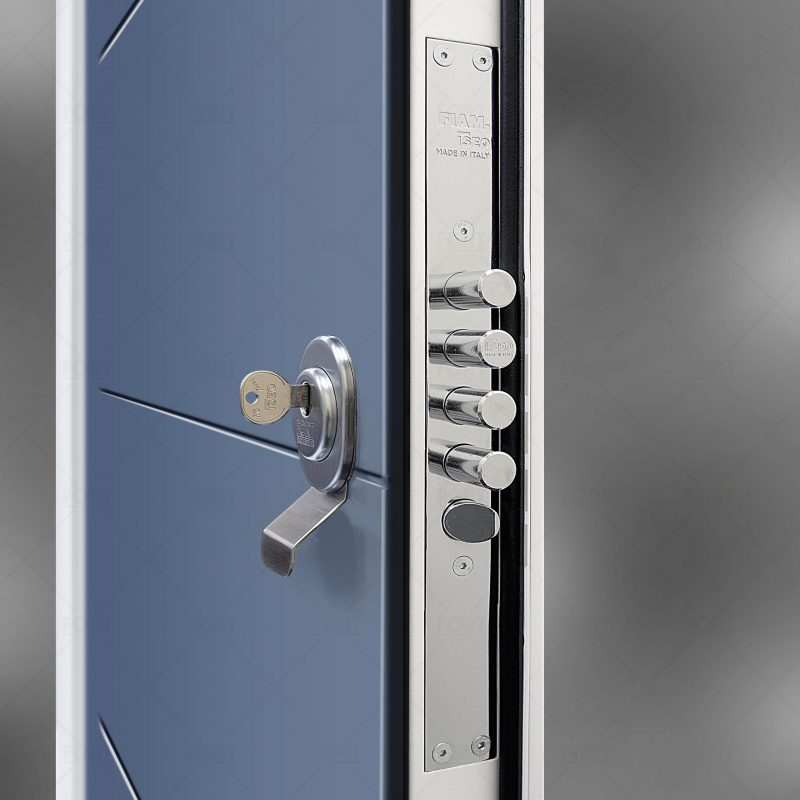Lock System In Pigeon Blue Ral 5014 By Fort Security Doors Uk