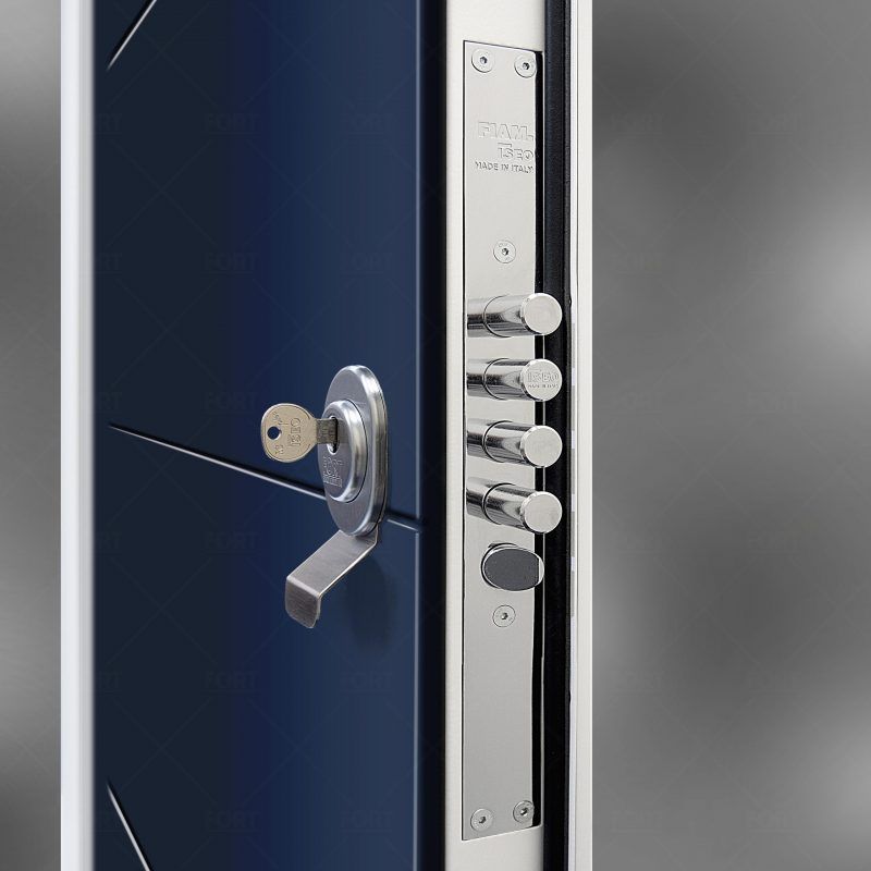 Lock System In Sapphire Blue Ral 5003 By Fort Security Doors Uk