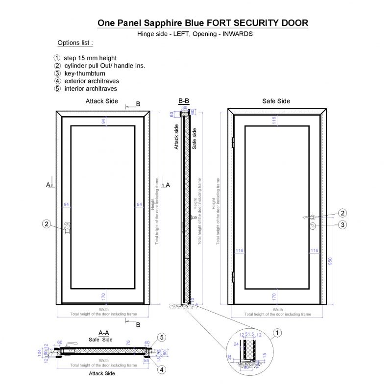 One Panel Sapphire Blue Fort Security Door Page 001