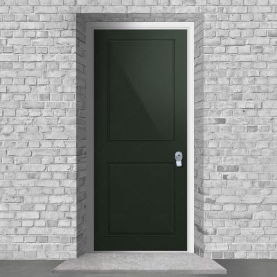 Two Panel Fir Green Ral 6009 By Fort Security Doors Uk
