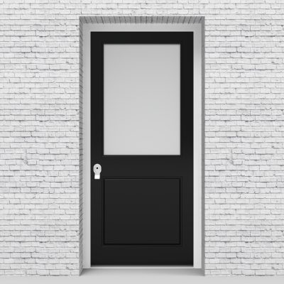6.single Door 2 Panel With A Large Glass Pane Jet Black (ral9005)