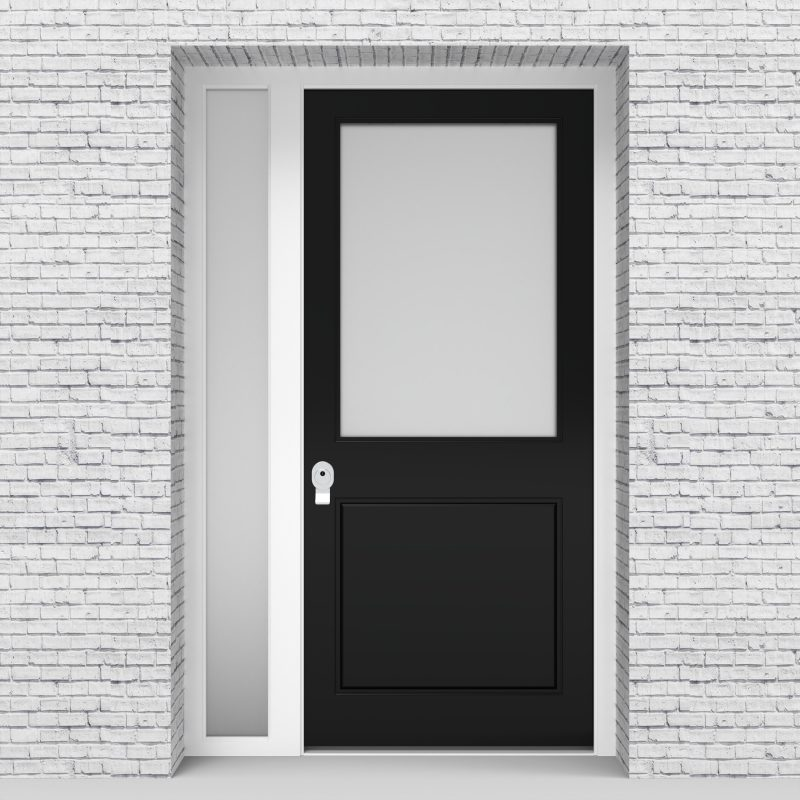 6.single Door With Left Side Panel 2 Panel With A Large Glass Pane Jet Black (ral9005)