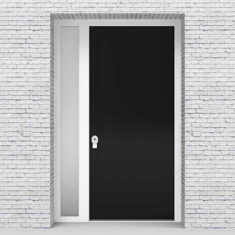 6.single Door With Left Side Panel One Panel Jet Black (ral9005)