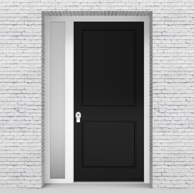 6.single Door With Left Side Panel Two Panel Jet Black (ral9005)