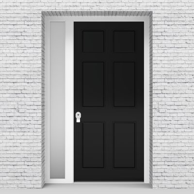6.single Door With Left Side Panel Victorian 6 Panel Jet Black (ral9005)