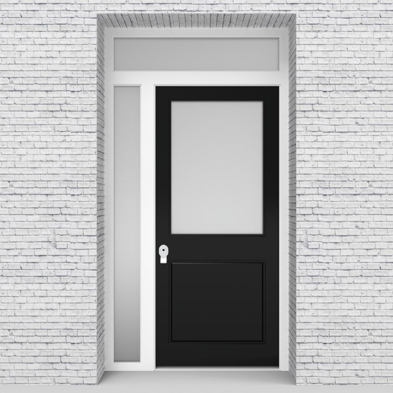 6.single Door With Left Side Panel And Transom 2 Panel With A Large Glass Jet Black (ral9005)