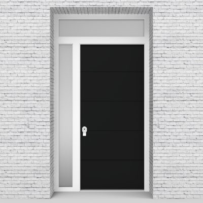 6.single Door With Left Side Panel And Transom 4 Horizontal Lines Jet Black (ral9005)