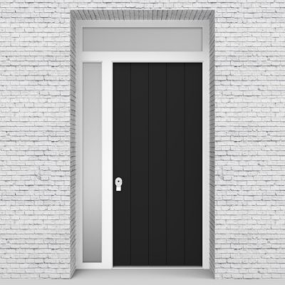6.single Door With Left Side Panel And Transom 4 Vertical Lines Jet Black (ral9005)