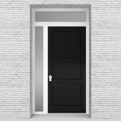 6.single Door With Left Side Panel And Transom Edwardian Jet Black (ral9005)