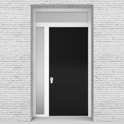 6.single Door With Left Side Panel And Transom One Panel Jet Black (ral9005)