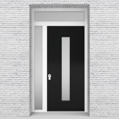 6.single Door With Left Side Panel And Transom Plain With Central Glass Jet Black (ral9005)