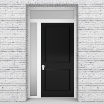 6.single Door With Left Side Panel And Transom Two Panel Jet Black (ral9005)