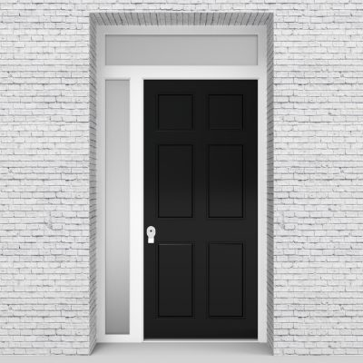 6.single Door With Left Side Panel And Transom Victorian 6 Panel Jet Black (ral9005)