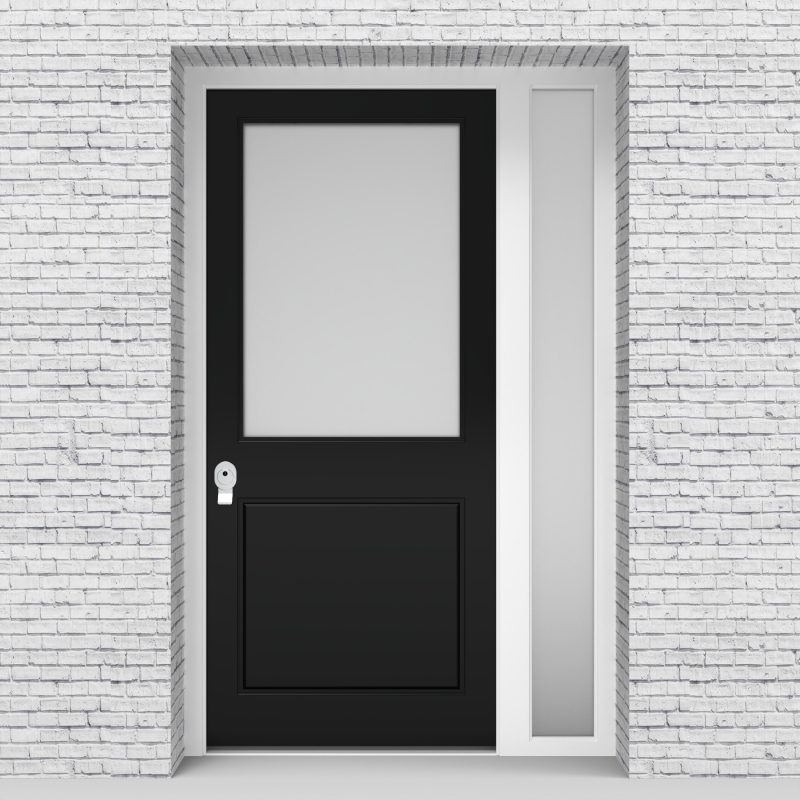 6.single Door With Right Side Panel 2 Panel With A Large Glass Pane Jet Black (ral9005)