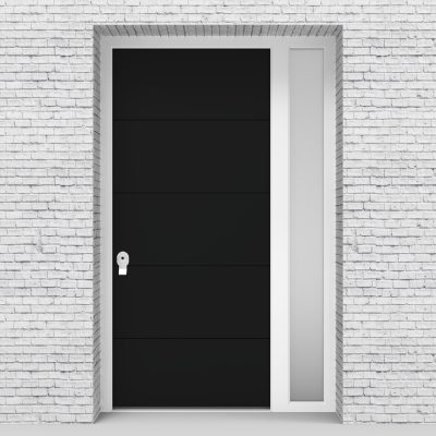 6.single Door With Right Side Panel 4 Horizontal Lines Jet Black (ral9005)