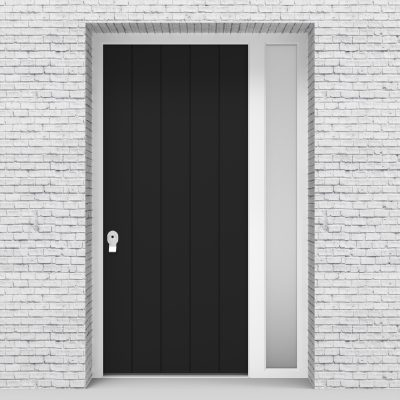 6.single Door With Right Side Panel 4 Vertical Lines Jet Black (ral9005)