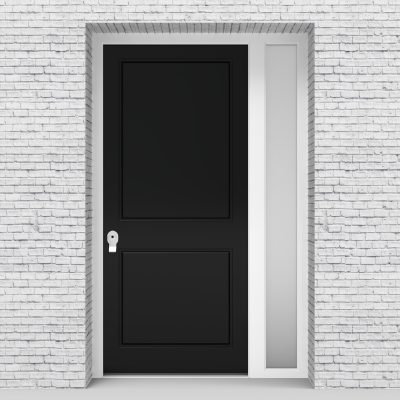 6.single Door With Right Side Panel Plain With Lock Side Glass Jet Black (ral9005)