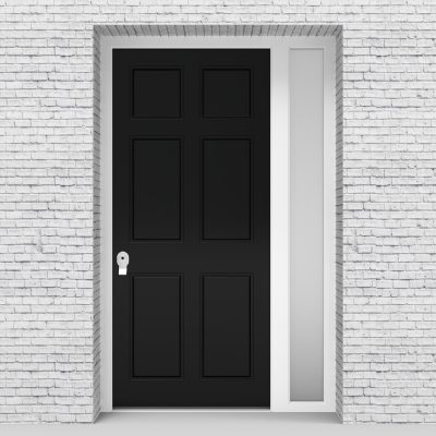 6.single Door With Right Side Panel Victorian 6 Panel Jet Black (ral9005)