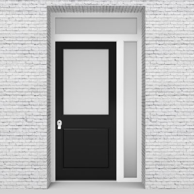 6.single Door With Right Side Panel And Transom 2 Panel With A Large Jet Black (ral9005)