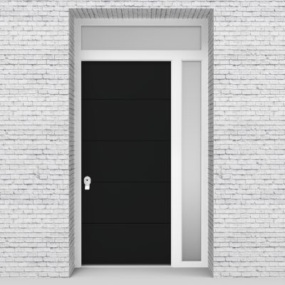 6.single Door With Right Side Panel And Transom 4 Horizontal Lines Jet Black (ral9005)