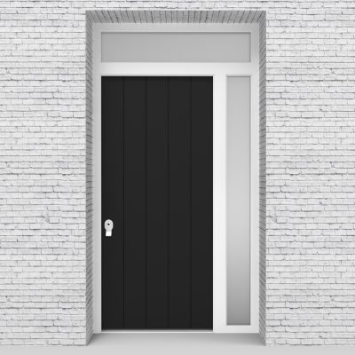 6.single Door With Right Side Panel And Transom 4 Vertical Lines Jet Black (ral9005)