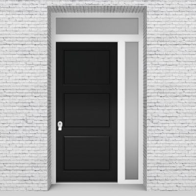 6.single Door With Right Side Panel And Transom Jet Black (ral9005)