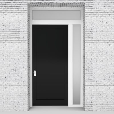 6.single Door With Right Side Panel And Transom One Panel Jet Black (ral9005)