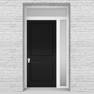6.single Door With Right Side Panel And Transom Two Panel Jet Black (ral9005)