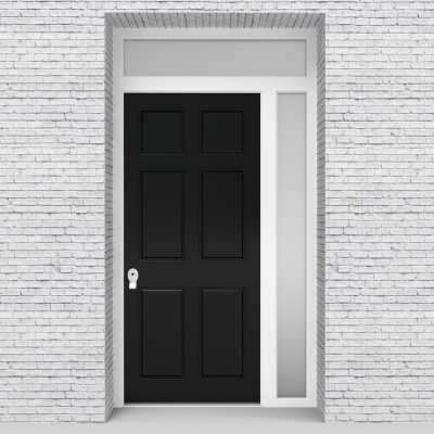 6.single Door With Right Side Panel And Transom Victorian 6 Panel Jet Black (ral9005)
