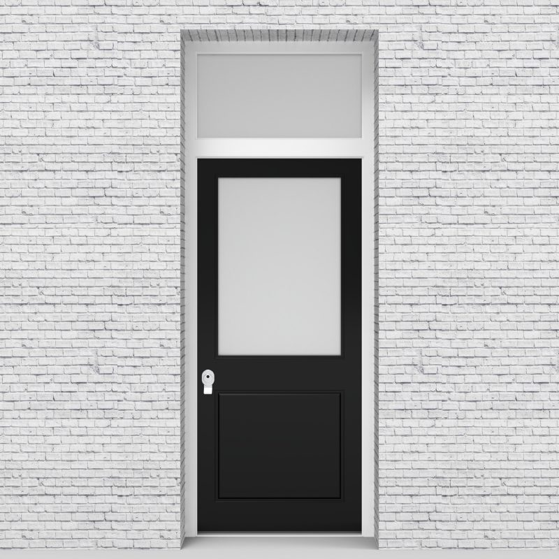 6.single Door With Transom 2 Panel With A Large Glass Pane Jet Black (ral9005)