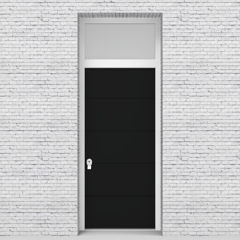 6.single Door With Transom 4 Horizontal Lines Jet Black (ral9005)