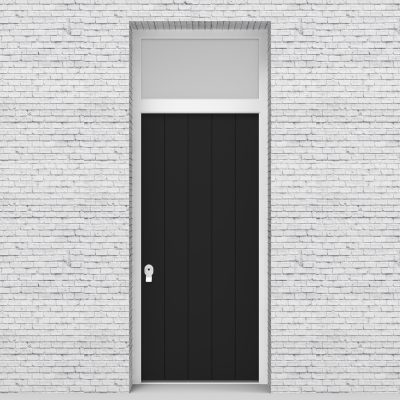 6.single Door With Transom 4 Vertical Lines Jet Black (ral9005)