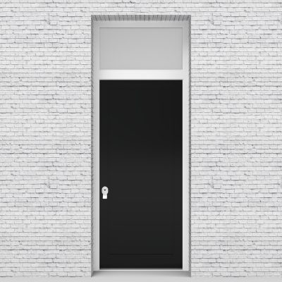 6.single Door With Transom One Panel Jet Black (ral9005)