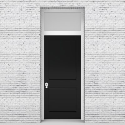 6.single Door With Transom Two Panel Jet Black (ral9005)