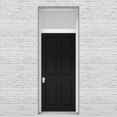 6.single Door With Transom Victorian 6 Panel Jet Black (ral9005)