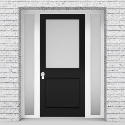 6.single Door With Two Side Panels 2 Panel With A Large Glass Panel Jet Black (ral9005)